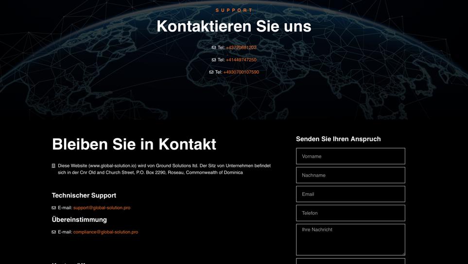 Der Kundensupport und Kontaktformular von Global Solution.